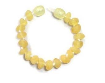 RAW Baltic Amber Teething Bracelet for Baby Girl, Amber Anklet, Amber Baby Bracelet, Baby Anklet, Butter Amber, Amber for Teething Pain
