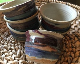 Set of 6 Wheel Thrown Pottery Ceramic Bowls