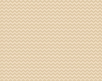 STORE CLOSING SALE - Camp a Lot, Cream Tan Chevron, Bo Bunny, Riley Blake, 100% Cotton Quilt Fabric, Tan Tonal, Quilting Fabric