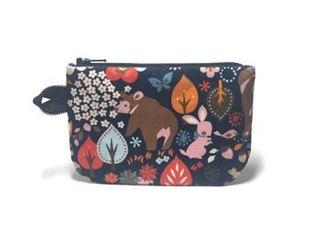 Woodland pouch.  Zippity zip pouch.  Zipper pouch. Small zip pouch. Coin purse. Card holder.  Gift card holder.  Business card holder.