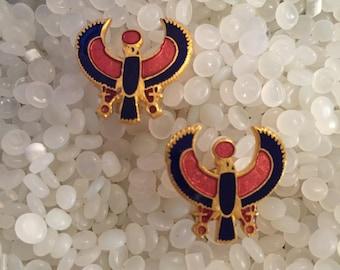 vintage cuff links  enamelled  cufflinks ,egyptian, Gold Falcon