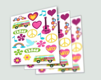 60's Theme Stickers, Hippie Party, Hippie Stickers, Flower Child, Tye Dye Party, Peace Symbol, Flower Power, Retro Stickers, Peace Stickers