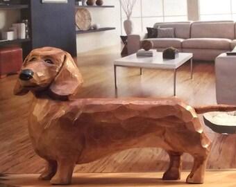 Dachshund Wood Carving Art Sculpture Home Decor