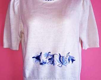Vintage Petite White and Blue Sweater, Size S