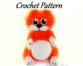 Amigurumi pattern cat toy Crochet pattern cat animal pattern toy cat ginger kitten pdf Instant Download fluffy cat mohair easy instruction