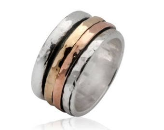 925 Sterling Silver Ring, Yellow gold, Rose Gold. 9K Gold, Hammered Ring, Gold Spinner, Three Tones Ring, Boho Ring, Statement Ring ITR676