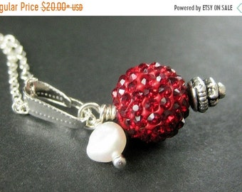 MOTHERS DAY SALE Red Kissing Ball Necklace. Red Necklace. Red Rhinestone Necklace with Fresh Water Pearl. Handmade Jewelry.