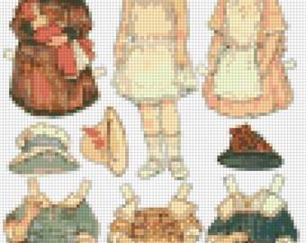 E-Pattern Vintage Paper Dolls Cross Stitch Pattern 06