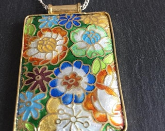 Rectangle Handmade Cloisonne Pendant Necklace