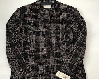 Vintage 1980s New Liz Clairborne First Issue Tweed Blazer Black Brown Size 14W Career Jacket