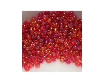 11/0 Transparent Siam Ruby Red AB Seed Beads 5gm