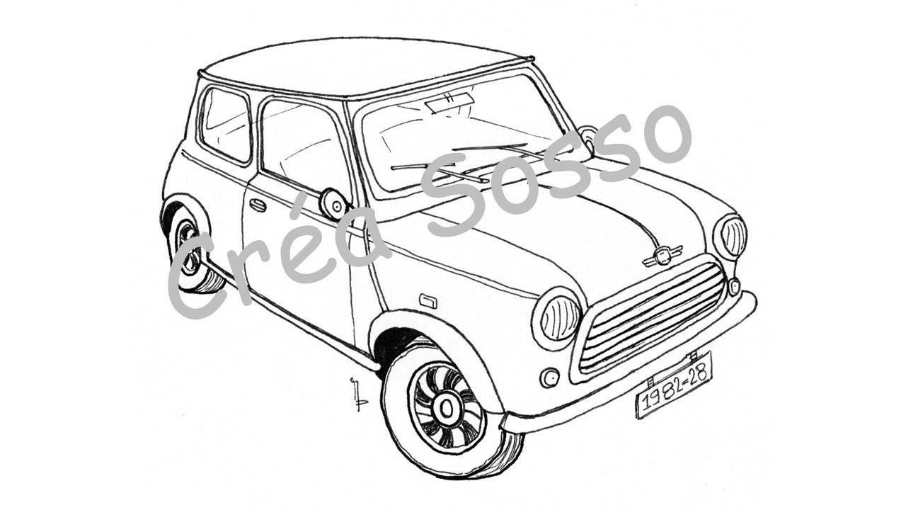 porte-clès dessin voiture ancienne austin mini