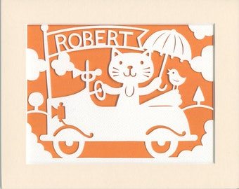 Personalized Nursery Art, Whimsical Cat in a Car Papercut, Kid's Room Decor, Baby Name Art, Designer Kid's Wall Art, Quirky Cat Illustration