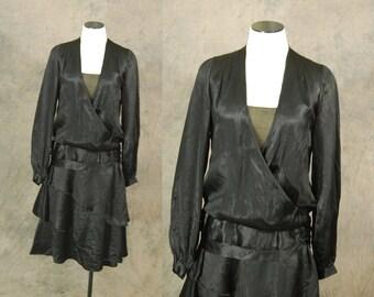 vintage 20s Flapper Dress - 1920s Black Silk Satin Dress - Art Deco Little Black Dress LBD Sz S