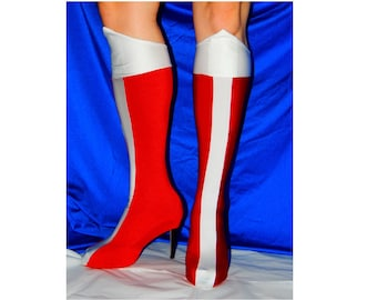 Wonder Woman shoe covers bootlets pair DC Batman Superman Justice League Red White boots cosplay