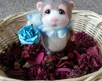 MADE TO ORDER~Needle Felted Mouse Agis - Collectible soft sculpted miniature