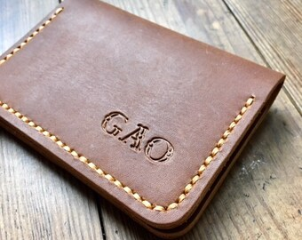 Chocolate Brown Leather Wallet, bifold wallet, simple wallet, business card wallet, business card holder, personalized wallet, custom wallet