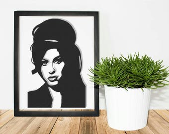 Amy Winehouse Framed Papercut - Silhouette Picture Print Card Cut