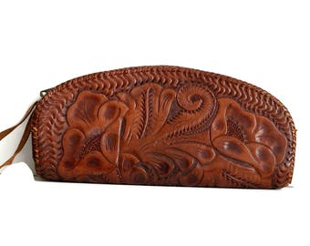 Vintage Brown Tooled Leather Clutch Purse