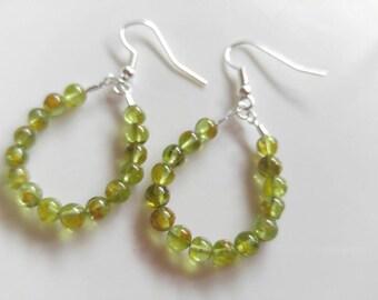 Earrings, handmade earrings, Hoop earrings, peridot earrings, gemstone, dangle hoop earrings, Sterling silver, gift,birthstone, gift