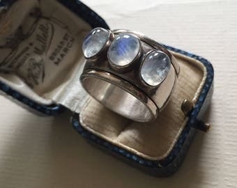 Moonstone Ring, Moonstone Jewellery, Sterling Silver, Vintage Moonstone, Silver Moonstone, Rare Silver Ring, Silver 925 Jewelry