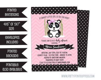 Girl Panda Bear Baby Shower Invitations - Panda Baby Shower - Pink Panda - Chevron Panda - Polka Dot Panda Bear Invite - Girl On The Way