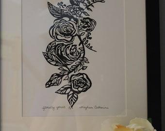 Florally Yours Linoleum Print