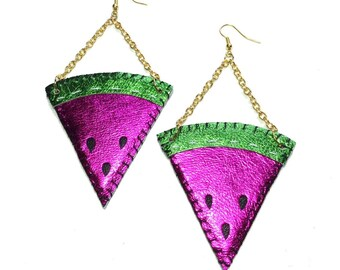 Juicy Fruit Metallic Leather Watermelon Slice Earrings
