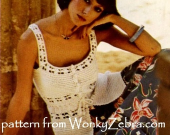 Vintage Crochet camisole tank top summer blouse crochet top Pattern PDF 838 granny square from WonkyZebra