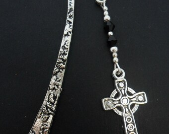 A tibetan silver and cross  charm  bookmark.