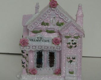 Shabby chic pink Victorian Christmas roses village house #3