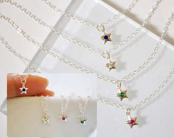 Tiny Star Sterling Silver necklace//Silver Star// Crystal//Layering Necklace// Minimalist// Simple// Emerald//Ruby//Sapphire// Diamond//