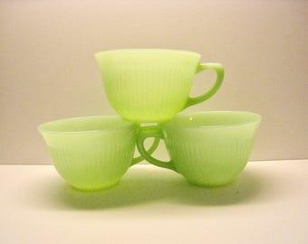 Fire King Jadeite mug teacup. Jane Ray pattern ribbed collectible vintage glassware.