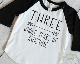 Third Birthday Boy Shirt 3rd Birthday Boy Outfit Third Birthday Boy Birthday Shirt Boy Third Birthday Outfit Three Years of Awesome 250