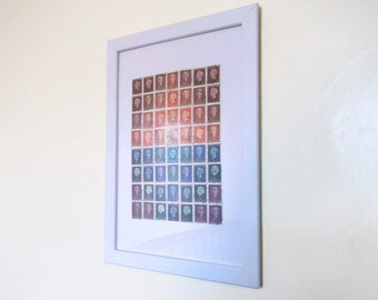Dutch Postage Stamp Art, Abstract Wall Art | Framed Upcycled Stamp Collage Art, A4 8 x 11 - Netherlands gift | Red Orange Blue sunset mosaic