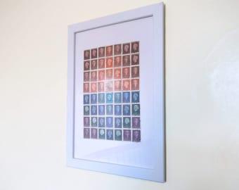 Dutch Postage Stamp Sunset - Framed Collage of Upcycled Netherlands Stamps