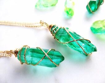 Crystal necklace | Quartz Crystal | Quartz jewelry | Quartz Necklace | Crystal Jewelry | Emerald Necklace | Emerald Jewelry
