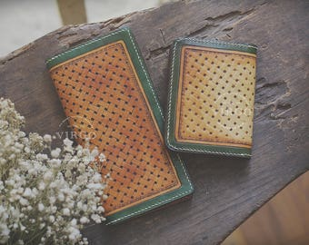 Sheridan hand tooled wallet set for him and her| Personalized vegetable tanned leather handmade wallet