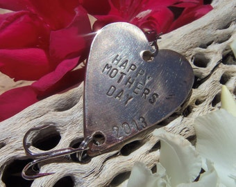 Personalized Gift for Her Handstamped Heart Fishing Lure Mothers Day Gift for Mom Gift for Dad Husband Gift for Wife Mommy Gift Fathers Day
