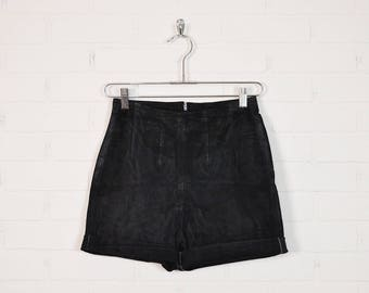 Vintage Black Leather Shorts Suede Shorts High Waist Shorts Mini Shorts Motorcycle Shorts Moto Biker Shorts Cuffed 80s 90s Grunge Boho S