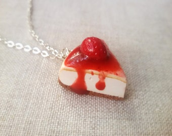 Strawberry cheesecake necklace, cake charm, cake pendant, miniature food charm, cake necklace, food jewelry, strawberry necklace