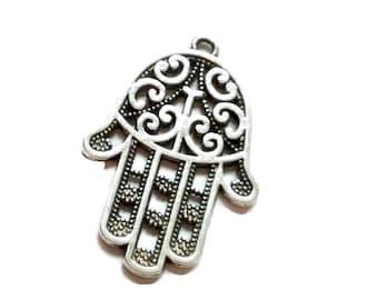 10 Antiqued Silver Hamsa Hand Charms 44 x 30mm