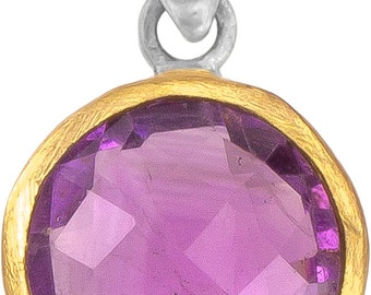 Silver Pendant round Amethyst faceted gold-plated 925 sterling silver Stone Purple Pendant (art-No. AG-55)