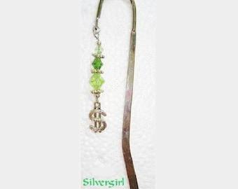 Green Crystal Money Charm Beaded Bookmark