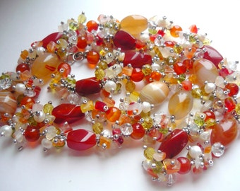 Multicolour Gemstone Necklace Beaded Cornelian, Pearl, Crystal Jewelry Statement Long Necklace Natural Stone Necklace Artisan Jewelry Gift