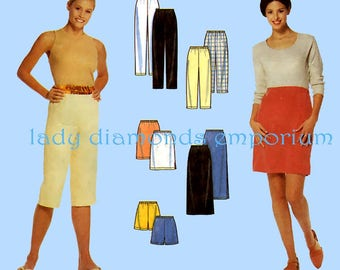 Simplicity 8740 Womens Easy Pull-on Pants Shorts Skirt in 2 Lengths size  L & XL 18-20 22-24 One Hour Full Figure Sewing Pattern Uncut FF