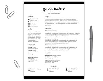 resume template cv template simple resume template cv template microsoft word instant download resume template resume