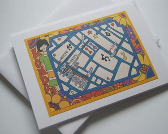 Psychedelic Mod Inspired Illustrated Map of 1960s London 'Carnaby Street' - Greeting Card Birthday Card