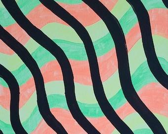 "Black, Orange, Green and Yellow Original Acrylic Abstract Painting on Canvas ""Series 4 LXXI"" Wall Art, Home Decor, Modern Art, Artwork"