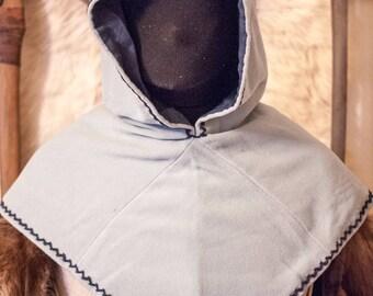 wool lined linen viking hood